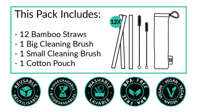what is included in the pack of 12 straws of bali boo