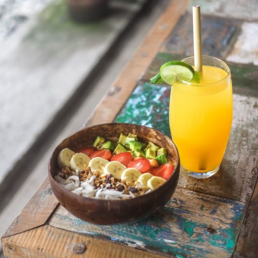 coconut bowl and juice