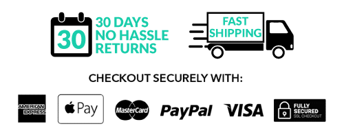 30 day no hassle returns and fast shipping. secure checkout logos